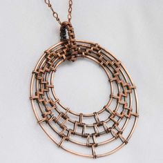Artisan Woven Circles Copper Pendant with Woven by NeroliHandmade - LOVE THIS!