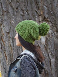 f9a3018d Moss Green Wool Knit Beanie/ Knit Beanie/ Mens Knit Beanie/Womens Knit  Beanie/ Slouchy Hat/ Wool PomPom Beanie/ Loose Fitted Beanie/kn