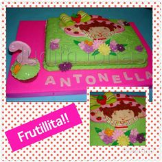 "torta/cake decorda con fondant ""Frutillita"" Fondant, Strawberry Shortcake Party, Son Luna, Gum Paste, Candy"