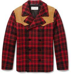 Saint LaurentSuede-Panelled Check Wool Lumberjack Jacket