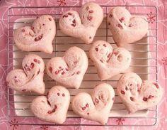 Sakura-Coloured, Heart-Shaped White Bread