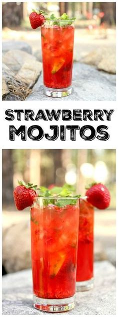 Easy recipe for Strawberry Mojitos : the perfect summer cocktail recipe for 4th of July!