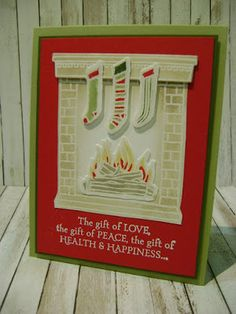 Stampin' Studio, Stampin' Up! Festive Fireplace, Festive Fireside Framelits. Christmas Card