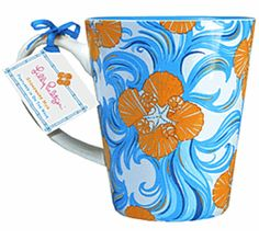 Lilly Pulitzer Cafe Lilly Mug in Do the Wave - coffee breaks don't have to be boring! Thermal Mug, Cappuccino Mugs, Orange And Turquoise, Cool Mugs, Xmas Presents, Dream Decor, Summer Of Love, Dollar Tree, Lilly Pulitzer