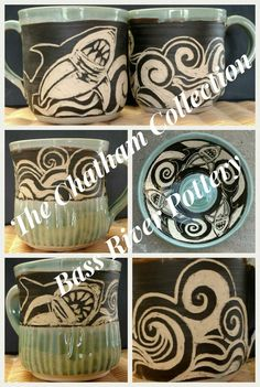 Sgraffito shark mugs and bowl. Sgraffito, Cape Cod, Shark, Bass, Pottery, River, Tableware, Cod, Ceramica
