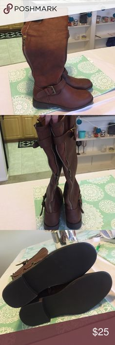 Brown Boots Great condition! Never been worn. Love these!! I just accidentally ordered them in a wide calf and it's too late to return them. JustFab Shoes