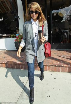 Seamlessly stylish: Jessica Alba looked fashionable as always as she went shopping around West Hollywood, California, on Thursday