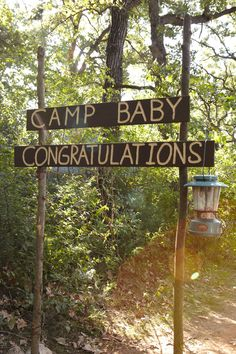 Baby Camper Congratulations Sign. Add rustic signage to inspire guests from the moment they enter the baby shower.hmmm...found this interesting because the baby will spend lots of time at Montreat.  I don't see how it would fit.
