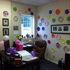 Polka dot office birthday decoration. We did this to a co-workers office today. :)
