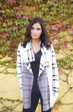 Plaid is in and #SussDesign is welcoming it in with this classic pattern pairing it with their waterfall cardigan to create the perfect go to piece this season!