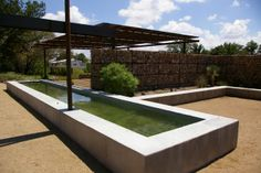A very Donald Judd-like geometric cement pool (The Capri, Marfa)