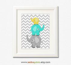 Aqua, Grey and yellow elephant nursery Art Print -8x10- Children wall art, stacked elephants, chevron, grey, turquoise, teal - UNFRAMED