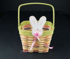 $13 for sale 2020 Vintage Easter Basket Easter Bunny Bunny Cut Out Easter   Etsy