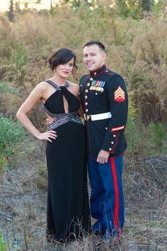 Marine Corps Ball Dress, makeup, & hair. #Redlips #updo #sidebun #blackdress #curlyhair