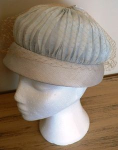 vintage hats   BABY BLUE netted PILL Box  by LandLockedCottage, $185.00