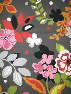 Amazing floral with both pink and red on a charcoal background. Perfect for Lucy's room!
