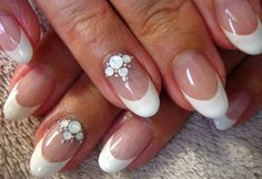 Beautiful nail art, French tip on oval nails, gel