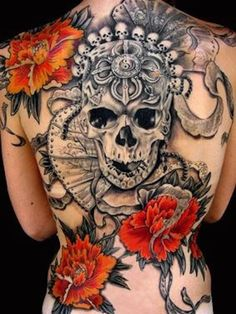 75 Mind-Blowing Skull Tattoos And Their Meaning | AuthorityTattoo Tatoo 3d, Tattoo Henna, Tattoo You, Back Tattoo, Wild Tattoo, Tattoo Lyrics, Great Tattoos, Sexy Tattoos, Beautiful Tattoos