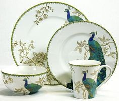 Peacock Garden Dinnerware Set - Porcelain Dinnerware Sets - Porcelain Dishes - Everyday Dinnerware Sets - Fine China Dinnerware - D.(Reminds me of PRISSY the 'pet' peacock who chose to live with us for a while, he ate grapes from our hand! Fine China Dinnerware, Square Dinnerware Set, Porcelain Dinnerware, Dinnerware Sets, Casual Dinnerware, Peacock Decor, Peacock Colors, Peacock Theme, Peacock Feathers