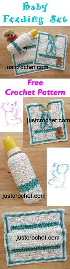 Free baby crochet pattern for feeding set, make for baby showers etc. #crochet