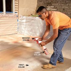 how to stain a concrete patio - I want to do this thru out my house...