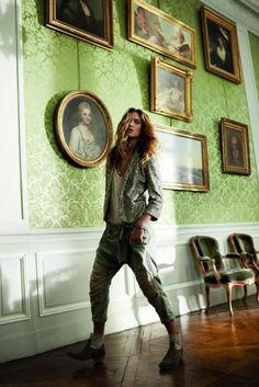 Erin Wasson / Zadig & Voltaire / Metallic Tux / Khaki Pants / Low Boots