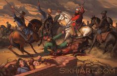 Guru Gobind Singh ji's two sons were brutally killed by the cruel Wazir Khan. Several years later, when Banda Singh Bahadur heard of this act, he sought out to punish the Nawab of Sirhind. He amassed an army, captured Sirhind and beheaded Wazir Khan.  http://sikhiart.com/for-sale/banda-singh-bahadur/