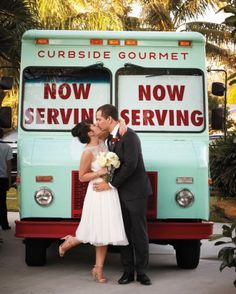 Katie kicked up a heel as she kissed her groom; their food truck provided an impressively on-palette backdrop.
