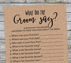 What Did the Groom Say Rustic Bridal Shower Game Wedding Bridal Shower Question Game, Fun Bridal Shower Games, Bridal Shower Planning, Bridal Shower Cards, Bridal Shower Rustic, Bridal Showers, Bridal Shower Invitations, Bridal Games, Bridal Shower Games Questions
