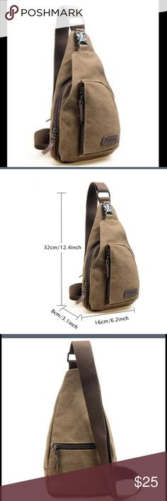 Men's Crossbody Shoulder Backpack Item Type: Shoulder/Messenger Bag Gender: Men Main Material: Canvas Color: Coffee Closure Type: Zipper Pattern Type: Solid Occasions: Casual Height: 32cm app. Width: 16cm app. Thickness: 8cm app. Condition: 100% Brand New Package Included: 1 x Bag Bags Messenger Bags