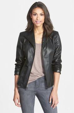 $695 COLE HAAN Lambskin Leather Scuba Jacket Black Collar NWT Women's Reg Size 8 #ColeHaan #BasicJacket
