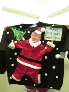 XXL TACKY UGLY Christmas Sweater Donald Trump As by Thecostumestop