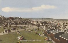 The Front in Seaton Carew with visitors enjoying the sunshine. I do like the stylish beach huts to the right. Old Pictures, Old Photos, Northern England, Beach Huts, Enjoy The Sunshine, Middlesbrough, Seaside, 1960s, Dolores Park