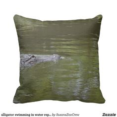alligator swimming in water reptile animal throw pillow