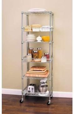 Best Kitchen Appliance Storage Rack Design Ideas For You 18 – Home Design Kitchen Rack, Tiny House Kitchen, Kitchen Design, Wire Shelving, Kitchen Appliance Storage, Kitchen Shelves, Appliances Storage, Kitchen Layout, Kitchen Storage