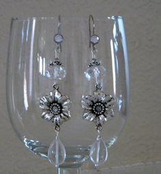 Wedding - Crystal Clear Flower Dangle Earrings by 1989michelle on Etsy, $10.00