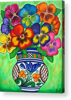 Pansy Parade Acrylic Print by Lisa Lorenz. All acrylic prints are professionally printed, packaged, and shipped within 3 - 4 business days and delivered ready-to-hang on your wall. Choose from multiple sizes and mounting options. Mexican Artwork, Mexican Paintings, Mexican Folk Art, Mexican Flowers, Canvas Art, Canvas Prints, Wedding Art, Pansies, Flower Art
