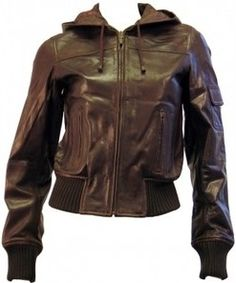 Ladies Leather Hooded Bomber Jacket in Brown
