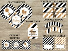 Exceptional Black And White Baby Shower Decorations Black By GreatOwlCreations