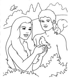 Adam and Eve colouring page for arrival activities, snack time, or extra craft activities.