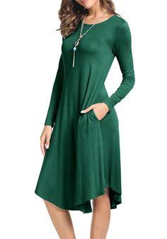 levaca Women's Plain Long Sleeve Pockets Pleated Loose Swing Casual Midi Dress