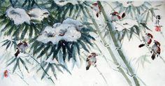 """cold birds on snowy bamboo"" by Darlene Kaplan"