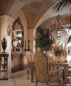 High-end Interior Design Firm, Decorators Unlimited, Palm Beach, Caribbean  Looking for just the right ideas for my Dining room I take a bit from here and there  love this large Mirror and Buffet Table the Palms add so much to any room, the flooring design always a big plus virtually  no window treatments here and it still looks marvelous! Accent tables.