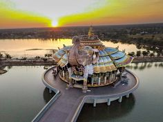 Sunset at Thailand's Elephant Temple Wat Ban Rai from a drone.      #drone…