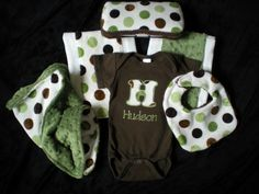 FEATURED -Baby Boy Gift Set - Dribble Bib, 2 Burp Cloths, Blanket, Wipe Case and Personalized Onesie FREE SHIPPING. $88.00, via Etsy.