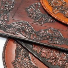 Sheridan style hand carved leather placemats by Graycloud - what a statement for a #WesternHome table!