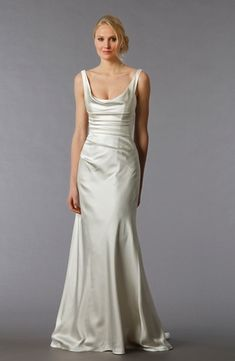 Scoop Sheath Wedding Dress  with No Waist/Princess Seams in Silk Satin. Bridal Gown Style Number:32811788