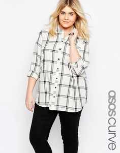 e5f4721e046 ASOS Curve ASOS CURVE Boyfriend Shirt in Mono Check Cheap Plus Size  Clothing