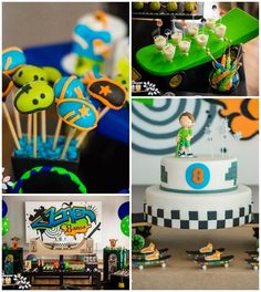 Theme was perfect for a beautiful little boy celebrating his bi 5th Birthday Party Ideas, First Birthday Parties, Boy Birthday, Party Themes, Birthday Cakes, Skateboard Party, Skate Party, Baptism Party, Craft Party