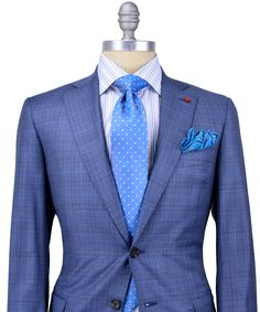 Isaia Grey Glen Plaid with Blue Windowpane Suit